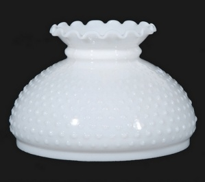 Milk Glass Hobnail 10 In Student Lamp Globe White Shade As Is