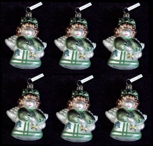 Box of 6 Cherry Designs Blown Glass Christmas Tree Angel Ornaments (Image1)