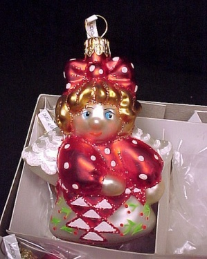 Set of 6 Cherry Basket Angel Blown Glass Christmas Ornaments (Image1)