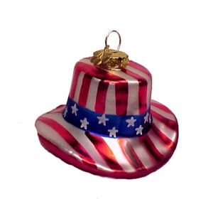 Blown Glass Christmas Tree Ornament USA US Flag Patriotic (Image1)