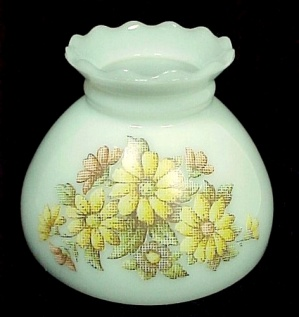 Student Lamp Shade Floral Milk Glass 8 inch White NeedlePoint Yellow  (Image1)