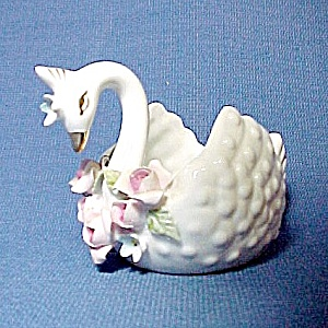 Lefton China Swan Salt Cellar Toothpick Holder Roses (Image1)