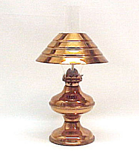 Vintage Miniature Mini Copper Oil Lamp Chimney & Shade (Image1)