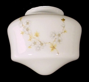 White Glass Floral 7 in Schoolhouse Ceiling Fan Light Shade (Image1)