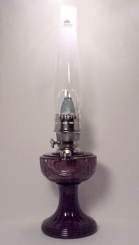Amethyst Glass Lincoln Drape Aladdin Kerosene Oil Lamp (Image1)