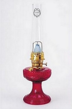 Lincoln Drape Ruby Red Glass Aladdin Kerosene Oil Lamp (Image1)