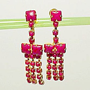 Red Glass Goldtone Dangle Drop Screw Drop Earrings (Image1)
