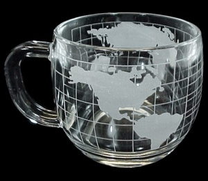 Nestle Nescafe World Globe Mug Glass Coffee Drink Cup