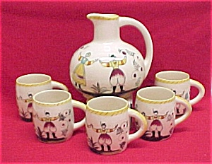 Peasant Chocolate Pot  Mugs Cups Pennsylvania Dutch (Image1)