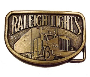 Raleigh Lights Cigarette Brass Belt Buckle Semi Truck (Image1)
