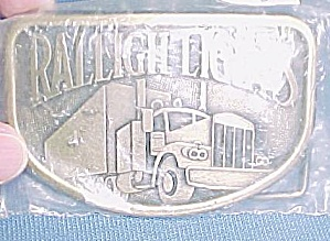 Raleigh Lights Cigarette Brass Belt Buckle Semi Truck (Image1)