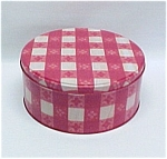 Click here to enlarge image and see more about item 150: Red & White Gingham Plaid Tin Cookie Can Jar Tablecloth