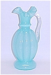 Fenton Art Glass Blue Melon Pitcher Vase Jug Vintage