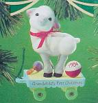 Click here to enlarge image and see more about item 18368: 1984 Hallmark Grandchilds 1st Christmas Tree Ornament Lamb First