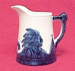 Click here to enlarge image and see more about item 18891: Old Sleepy Eye White & Cobalt Blue 5 inch #2 Pitcher