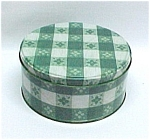 Click here to enlarge image and see more about item 223: Green White Plaid Gingham Tin Cookie Can Jar Tablecloth
