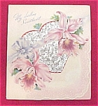 Click here to enlarge image and see more about item 253: Vintage 1940s Valentine Day Card Orchids Lace Heart