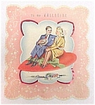 Vintage 1940s Valentine Day Card Heart Magic Carpet