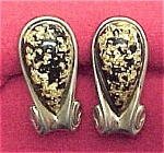 Click here to enlarge image and see more about item 269: Lucite Cuff Links Black Jelly Belly w/ Gold Glitter