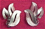 Click here to enlarge image and see more about item 314: Crown Trifari Brushed Silvertone Leaf Clip On Earrings