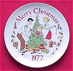 Click here to enlarge image and see more about item 318: 1977 Dennis the Menace Christmas Plate Hank Ketcham