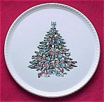 Click here to enlarge image and see more about item 319: Royal China Christmas Tree Cake Plate Round Platter