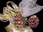Click to view larger image of Vintage Christmas Corsage Pinecone Chenille Netting Gold Lace Ribbon (Image2)