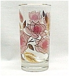 Libbey Glass Water Drinking Tumbler Pink Roses w/ Gold