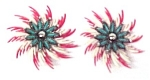 Click to view larger image of Vintage Plastic Pinwheel Turquoise Flower Clip Earrings (Image1)