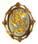 Click here to enlarge image and see more about item 34700: Jelly Belly Blue Lucite Cabochon Gold Glitter Brooch Pin Art Nouveau