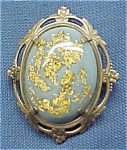 Click here to enlarge image and see more about item 347: Jelly Belly Blue Lucite Gold Glitter Brooch Pin Vintage