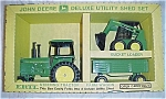 Click here to enlarge image and see more about item 35228: 70s Ertl Diecast John Deere Deluxe Utility Shed Tractor Wagon Set Toy