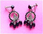 Black Glass Circle Dangle Art Deco Hoop Screw Earrings