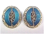 Vintage Thermoset Plastic Clip Earrings Turquoise Teal
