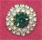 Emerald Green Rhinestone Pin Brooch Vintage