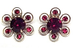 Ruby Red Rhinestone Flower Clip Earrings
