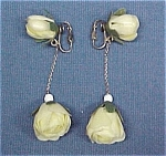 Click here to enlarge image and see more about item 370: Vintage 1950s Plastic Rose Bud Dangle Clip Earrings