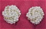 Click here to enlarge image and see more about item 374: Vintage Faux Pearl Gold Link Knotted Clip Earrings