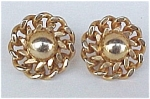 Click here to enlarge image and see more about item 375: Vintage Goldtone Flower Screw Earrings