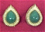 Vintage Jade Goldtone Teardrop Clip Earrings