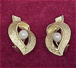 Vintage BSK Goldtone Faux Pearl Clip Earrings