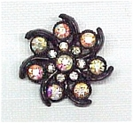 Click here to enlarge image and see more about item 387: Aurora Borealis Swirled Floral Pin Brooch Vintage AB
