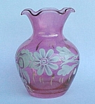 Click here to enlarge image and see more about item 38871: Cranberry Flash Hand Painted Floral Glass Vase Vintage