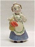 Click here to enlarge image and see more about item 39487: Vintage Porcelain German Figurine Girl Carrots Basket