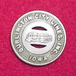 Click to view larger image of Vintage Burlington IA Iowa City Lines Bus Token 1 Fare (Image1)