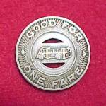 Click to view larger image of Vintage Burlington IA Iowa City Lines Bus Token 1 Fare (Image2)