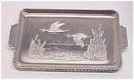 Click here to enlarge image and see more about item 40849: Set of 3 Aluminum Snack Trays Flying Ducks Cattails