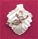 Vintage Carved Mother of Pearl Initial B Pin Brooch