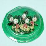 5 Wrapped Spun Cotton Chenille Christmas Package Ornament Girls