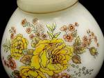 Click to view larger image of Floral Student Lamp Shade 8 in Milk Glass Orange Roses Yellow Vintage (Image3)
